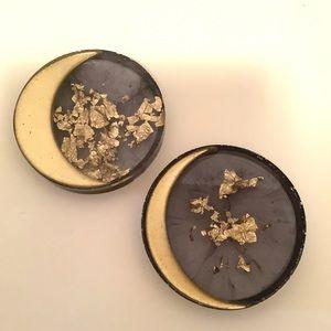 Set Of 2 Handmade Black And Gold Moon Coasters
